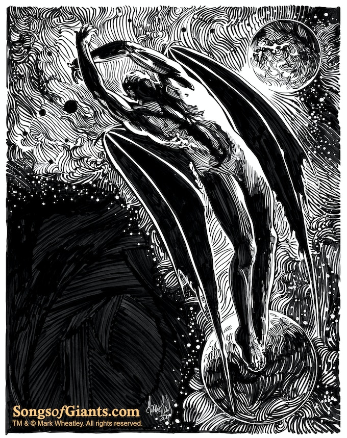 "Mark Wheatley original art (dark) for ""Astrophobos"" by H. P. Lovecraft"