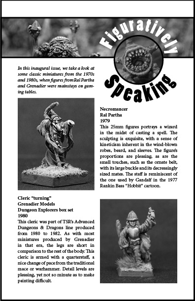 "Page one of Black Dragon's miniatures review section, ""Figuratively Speaking."""