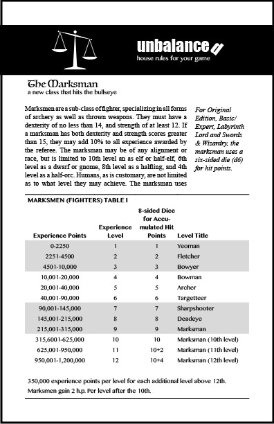 The first page of the Marksman, a new class for your pre-3e game.