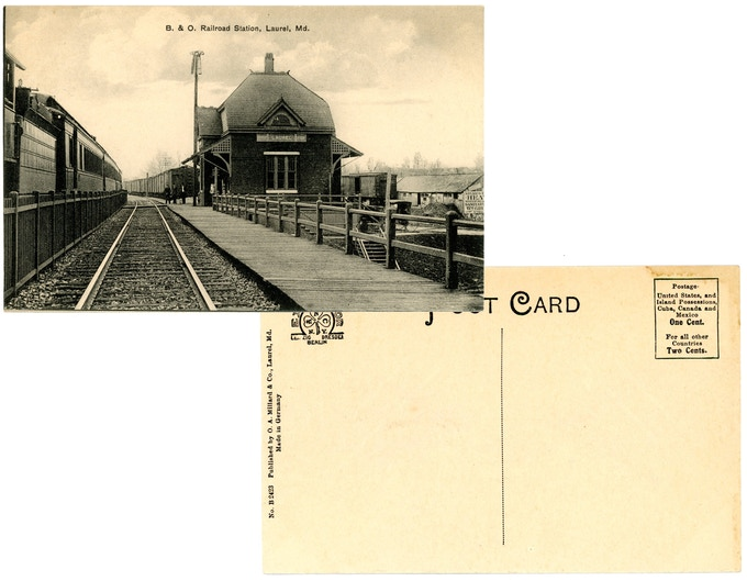 Original 1910s mint condition postcard: B & O Railroad Station. For a $250 pledge, you'll receive this rare postcard plus TWO signed copies of the book.