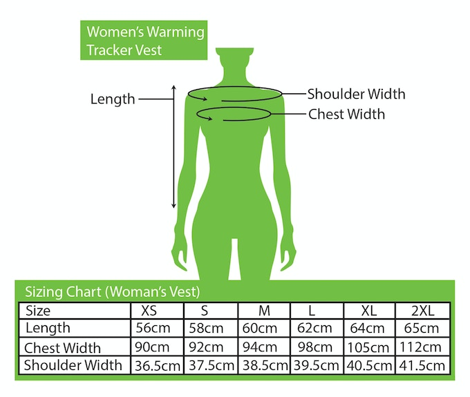 Sizing Chart for Women's Vest
