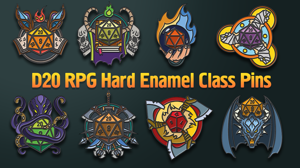 Project image for D20 RPG Hard Enamel Class Pins