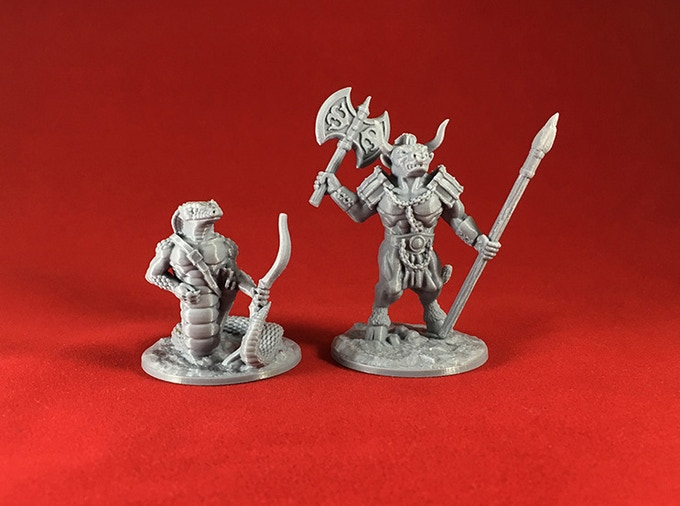 Snake Warrior & Minotaur test prints (Ender 3 printer).