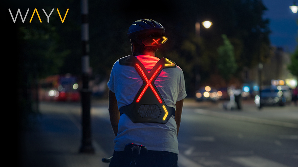 WAYV harness and helmet mounted safety lights for cyclists.