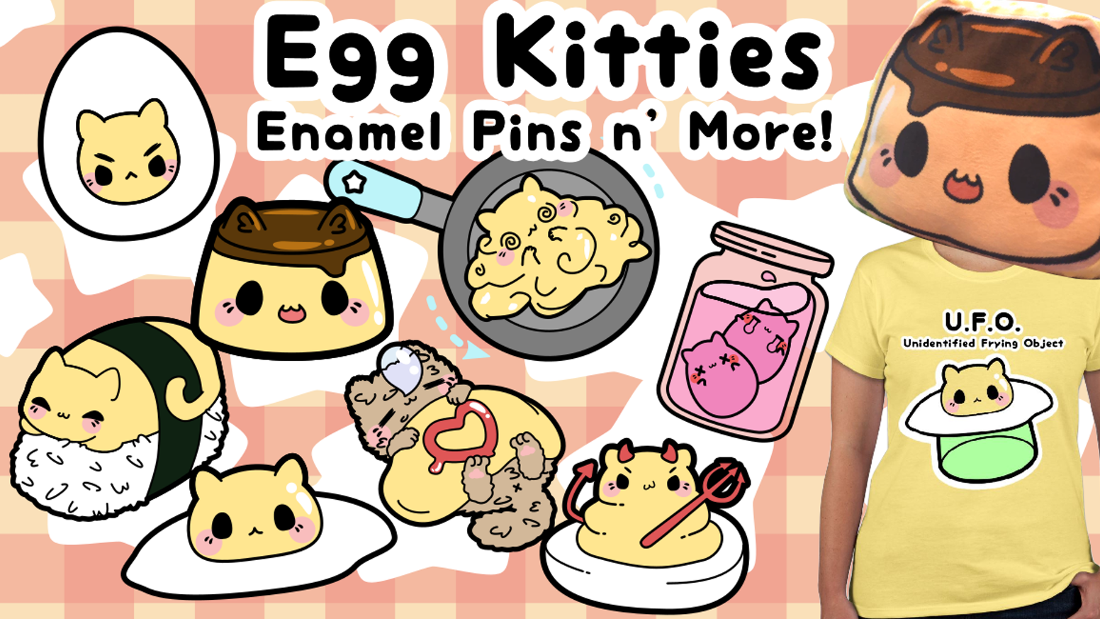 Egg Kitties Enamel Pins and More -- Designed by Kittynaut