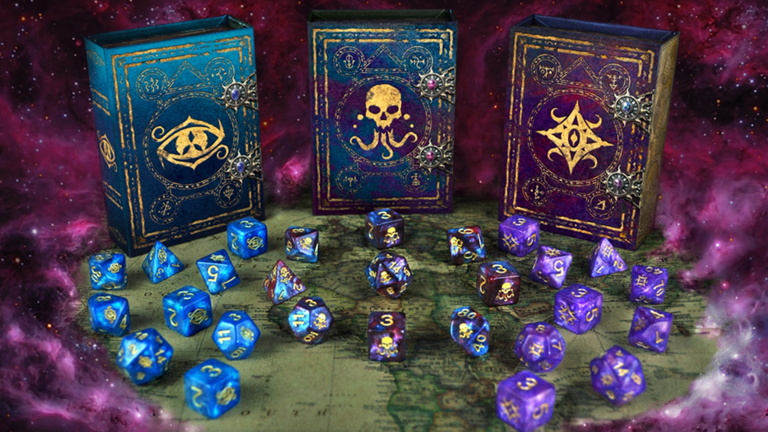 Arcane dice designs: The Eye of Chaos, Seal of Yog-Sothoth, and The Star of Azathoth. Includes magnetic spell book box, dice trays, etc