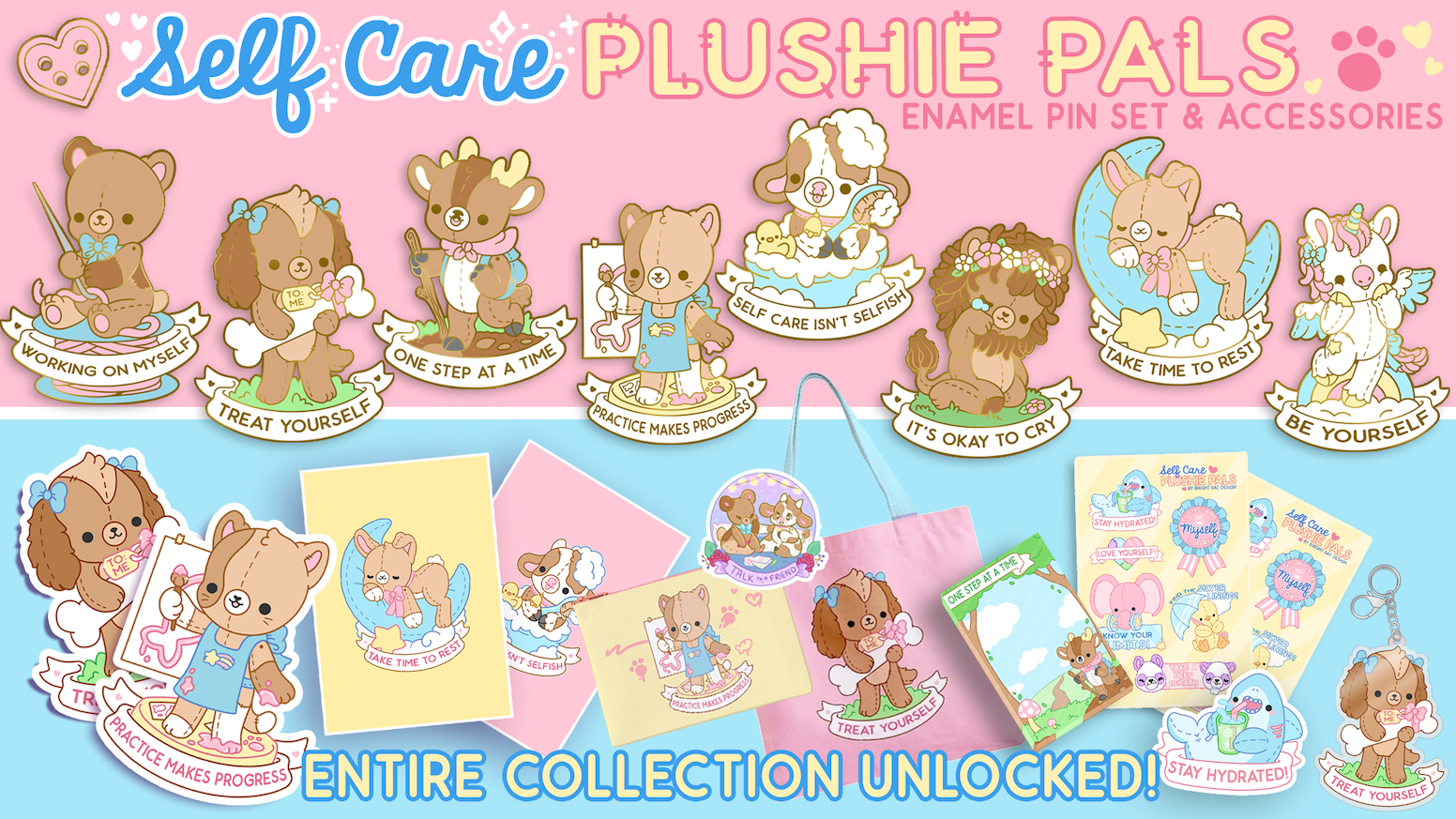 Self Care Plushie Pals - Kawaii Enamel Pins & Accessories by