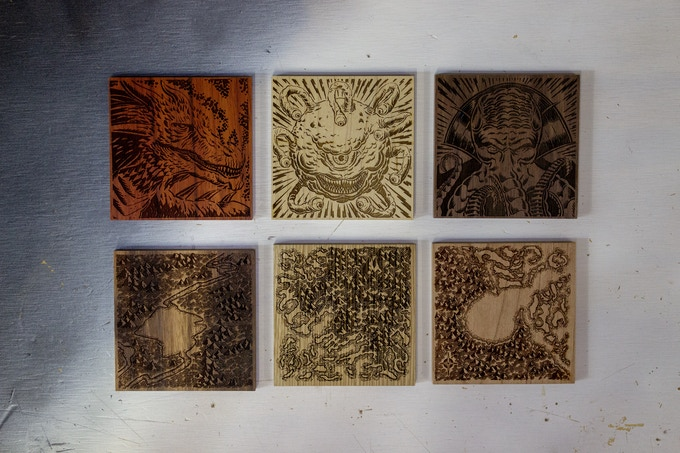 The six engraving options in various hardwoods
