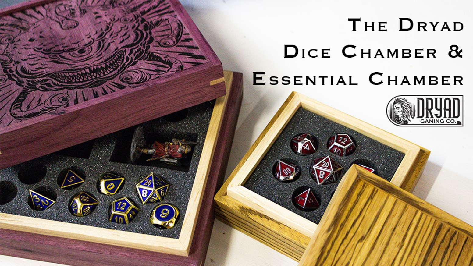 Two sizes of friction-lid boxes to store & transport your most crucial tabletop gaming gear. Each box is made from 14 amazing hardwoods