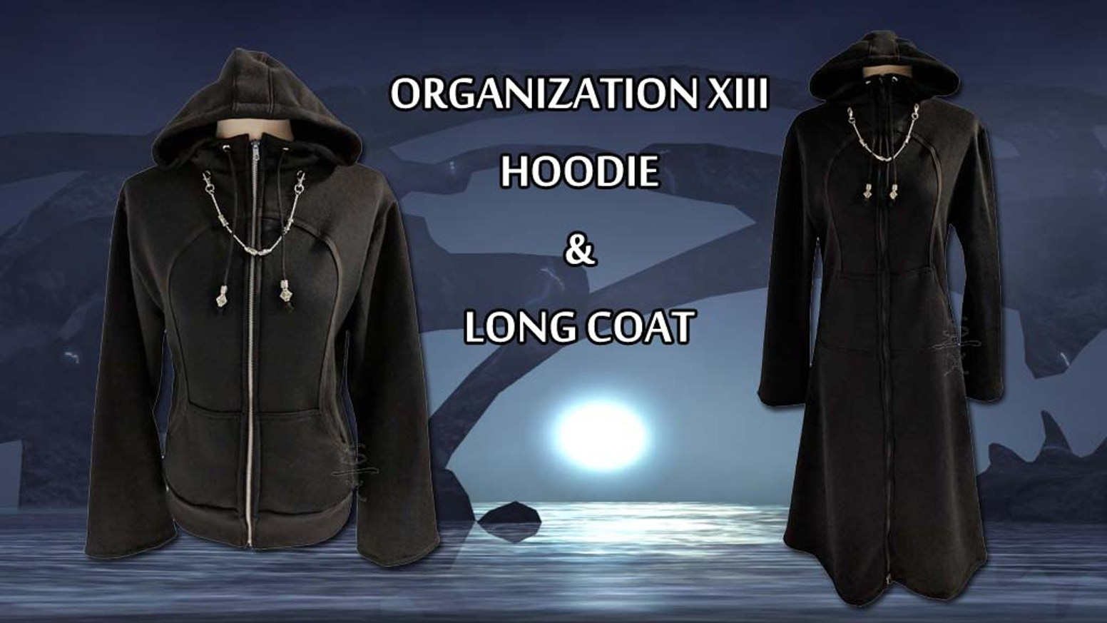 Blending cosplay with casual fashion, this Kingdom Hearts Organization XIII inspired hoodie and long coat is perfect for everyday wear.