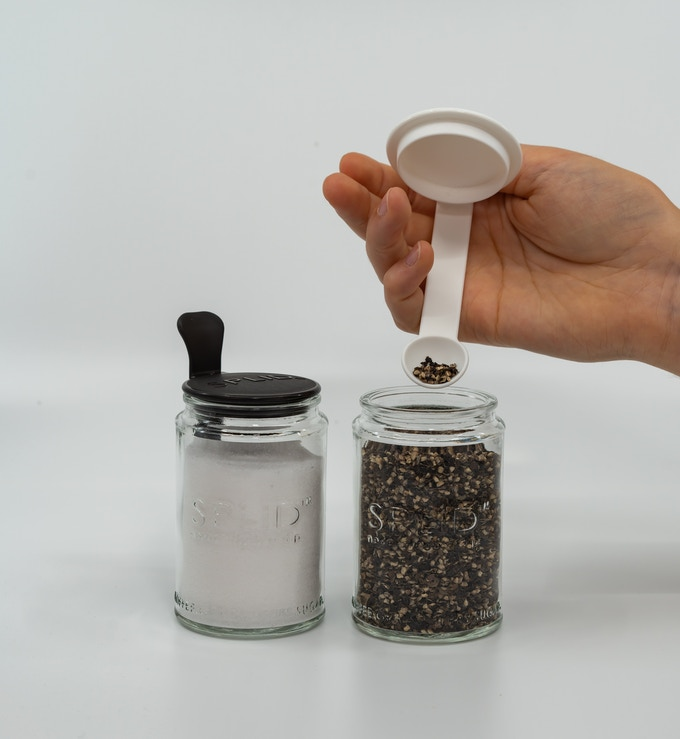 Salt & Pepper Duo. Use the black & white SPLID 150ml Lift-Off for salt & pepper. Take to the table. A sure talking point, and oh so useful.