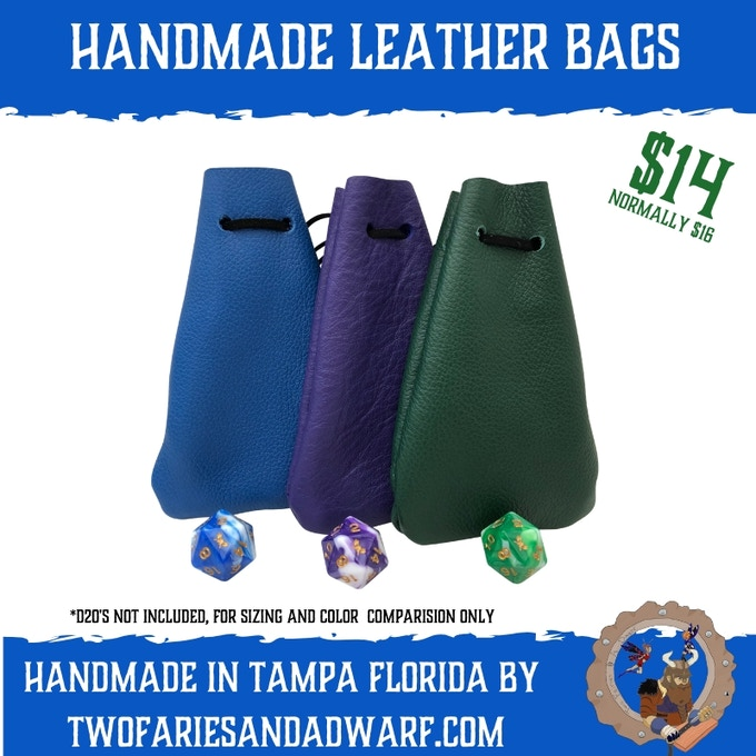 Small Leather Dice Bag - Handmade in Tampa Florida - Prices per bag