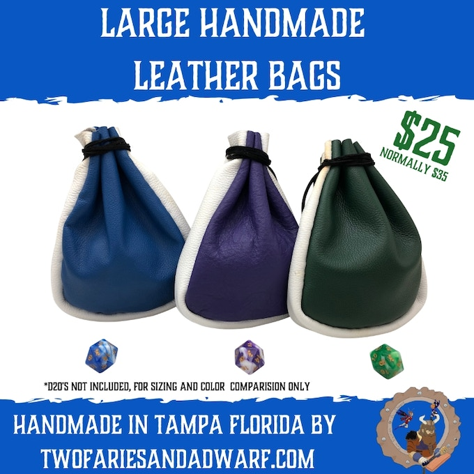 Large Multi Color Leather Dice Bag - Handmade in Tampa, Florida - Prices Per Bag