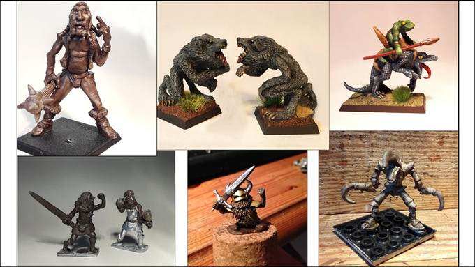 Some of my 28mm releases on this Kickstarter. Giant, Werewolves, Frog guy on Lizard, Highlanders, Dwarfs, Hook Terror.