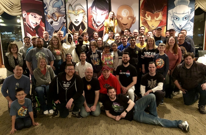 We unfortunately didn't get a group photo until the end of the con, but thank you to the 100+ people that attended!