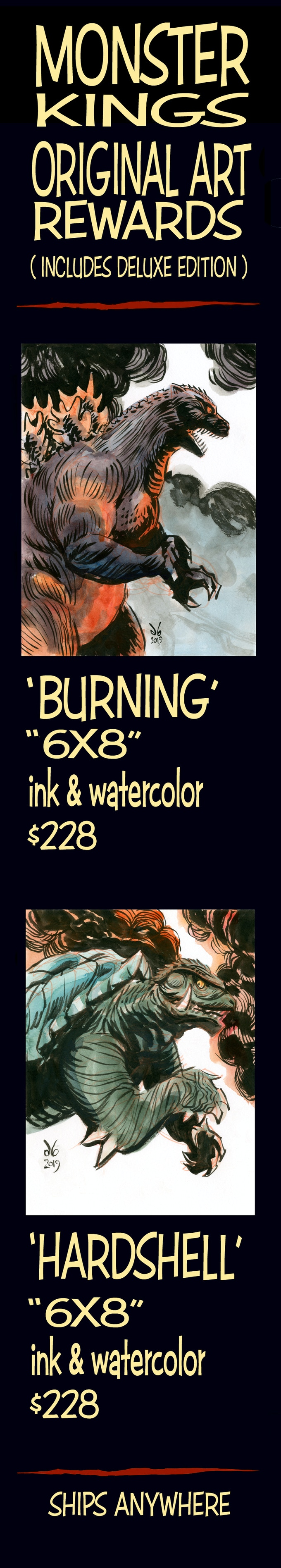 "Hand-drawn and painted""6x8"" Original Art Rewards"