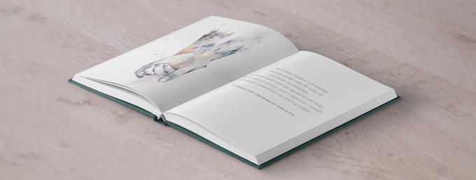 Skitse af, hvordan en side i bogen eks. kunne se ud.