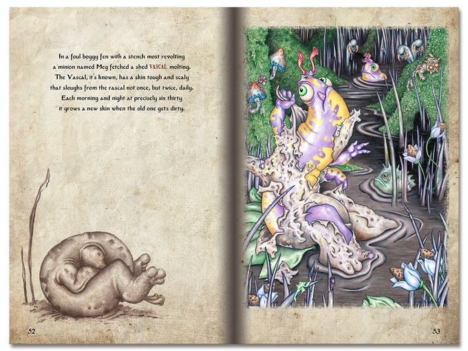 Here's a sample page spread from Alphabeast Soup! Click to enlarge.