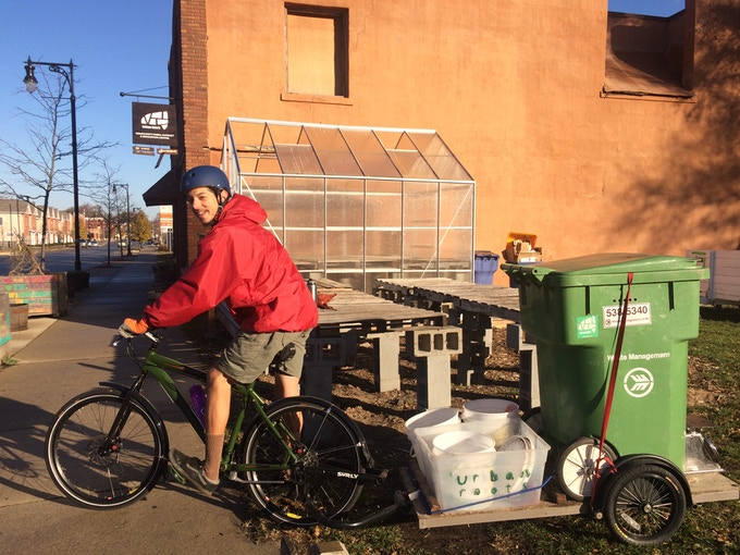 Compost Coordinator Greg on his way to pick up GR's compost!