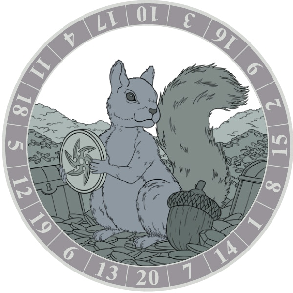 The Squirrel Coin will be plated in antique gold