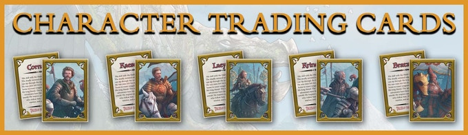 Exclusive Character Trading Cards, featuring: Cornar, Kaescis, Laeyit, Krindal, and Bratan