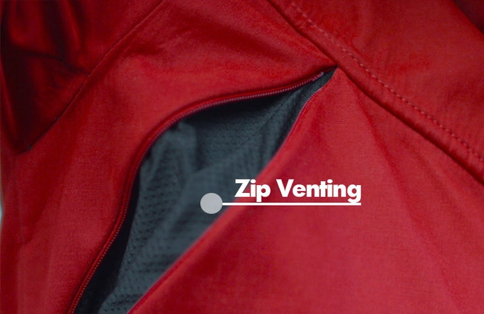 Additional zip venting