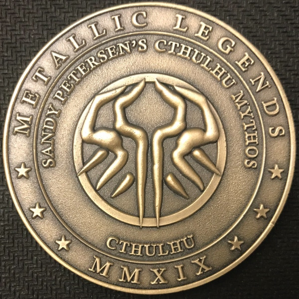 Back of Cthulhu coin - plated in antique gold