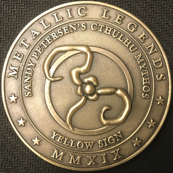 Back of Yellow Sign coin - plated in antique gold