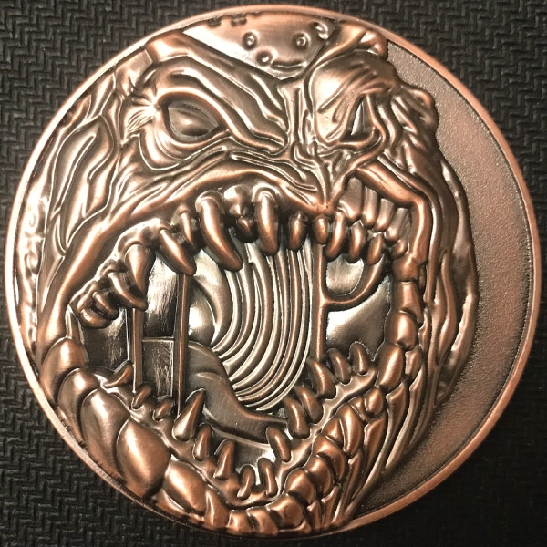 Front of Sleeper coin - plated in antique copper