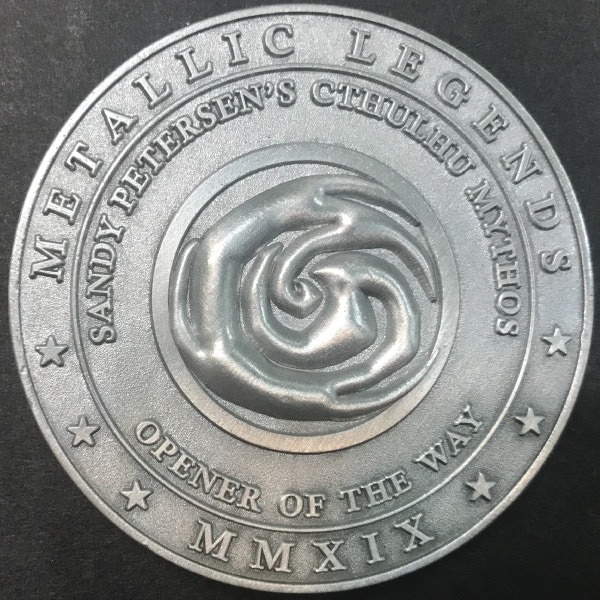 Back of Opener of the Way coin - plated in antique silver