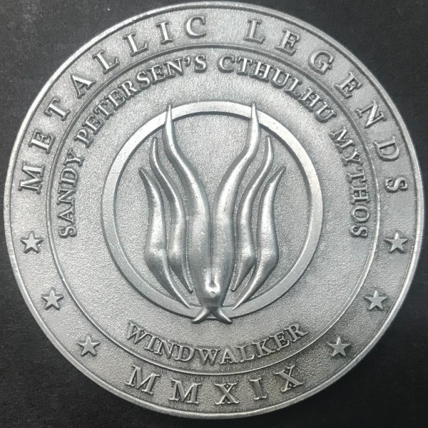 Back of Windwalker coin - plated in antique silver