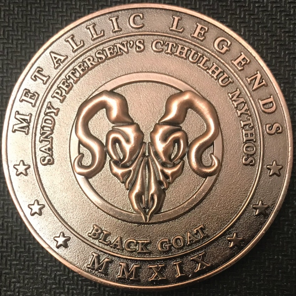 Back of Black Goat coin - plated in antique copper