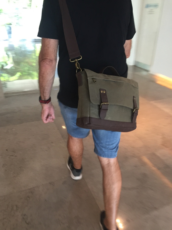 nXtBag2 Waxed canvas and leather a classic look.