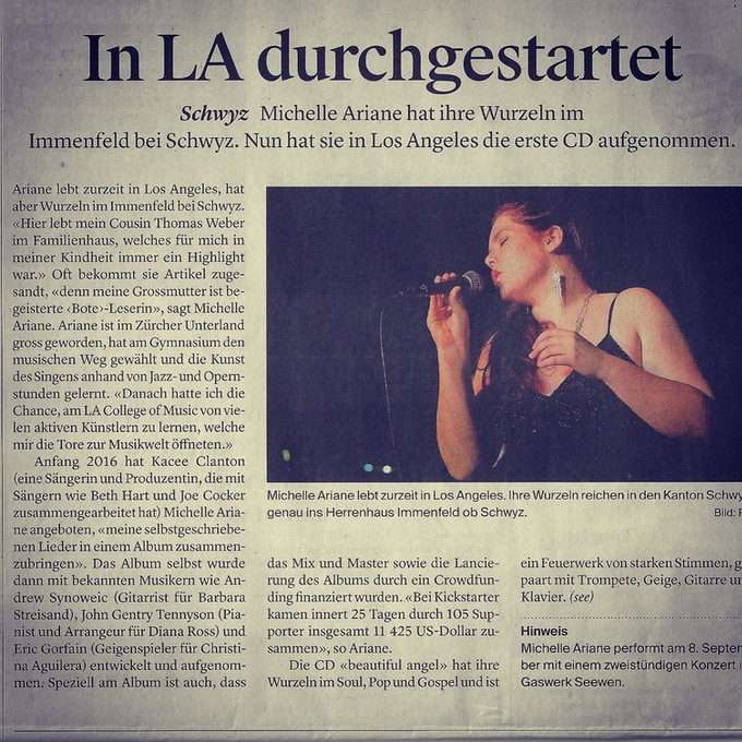 An Article promoting a concert from 2017 in Schwyz