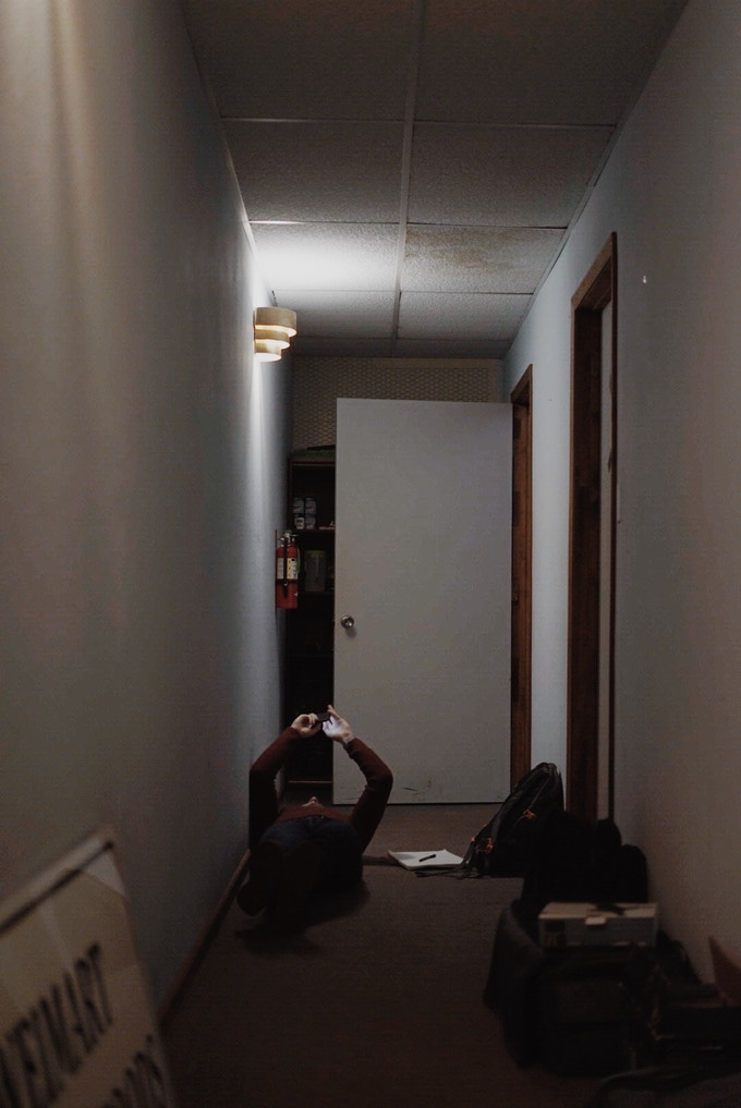 Dean laying in the studio hallway on our first day recording