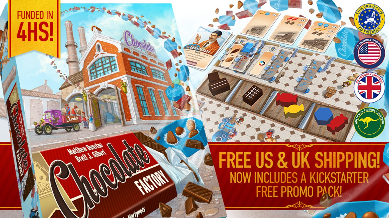 A tactile euro game for 1-4 players. Build  your factory, upgrade chocolate, using an actual physical conveyor belt, then sell it all!