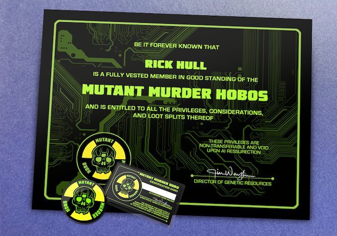 Mutant Murder Hobos membership kit.