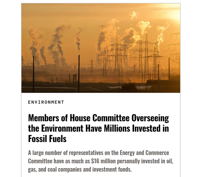 Sludge reports on the investments of members of Congress, outrageous conflicts of interest that rarely get discussed.