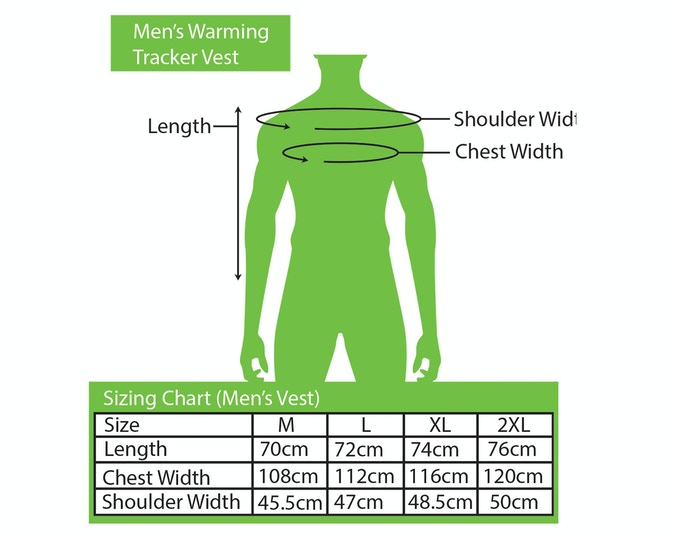 Sizing Chart for Men's Vest
