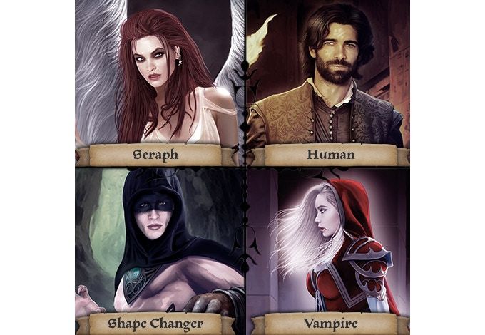 Choose from one of 4 different races to play as with alternate unique art on both sides of each hero card