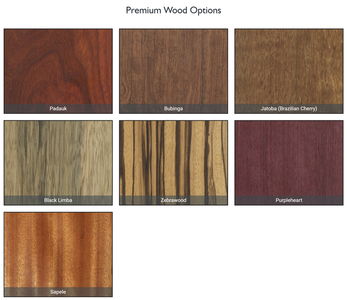 Premium wood options available as an upgrade. See reward descriptions for details.