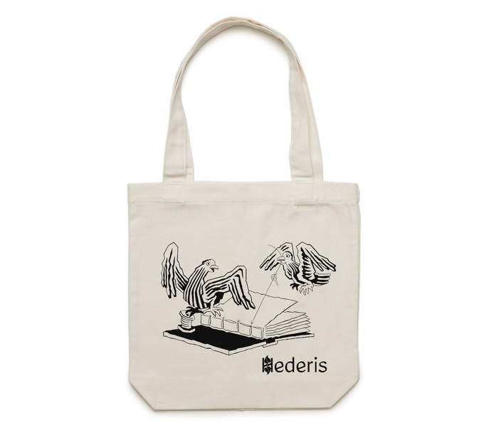 Some rewards include this screenprinted tote bag, with art by Patrick Keck.