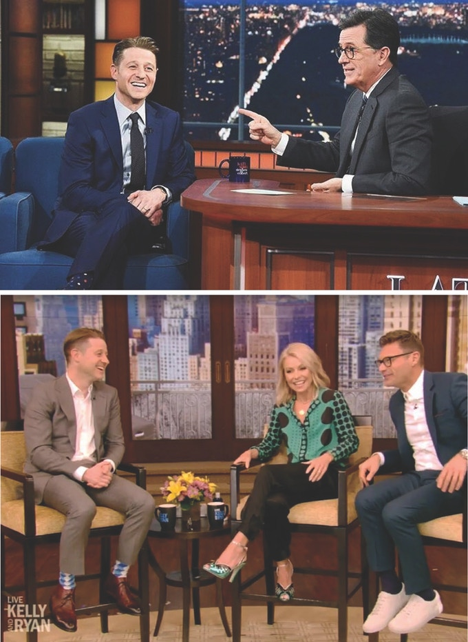 T: Ben rocking our Bumble (Navy) on Stephen Colbert ---  B: Ben sporting the Tangram (Blue / White) on Live with Kelly & Ryan