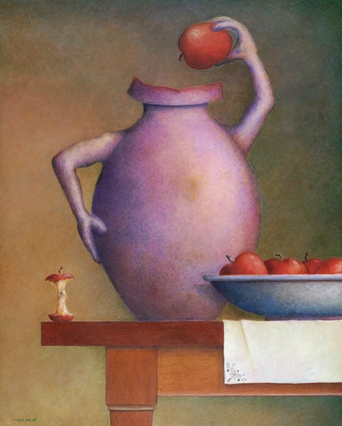 'Still Life-Vase and Apples', 20 x 16 inch oil painting on board