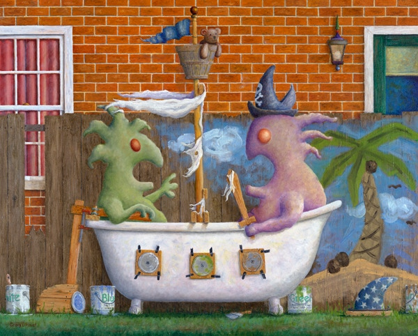 'Pirates in a Bathtub', 18 x 22 inch, oil painting on board