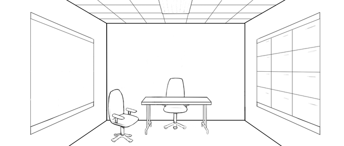 Concept art for one of the sets that I'll build if I get funded. While it is only an office, I want it to have a unique tone that I can get more easily with a purpose-built set.