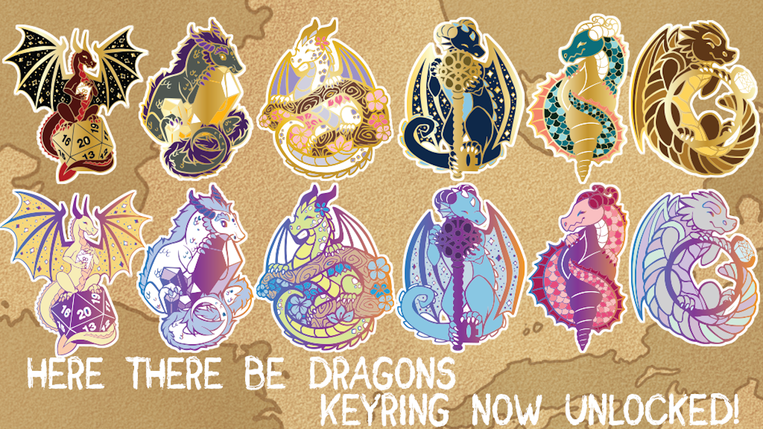 A set of gold and rainbow metal enamel pins inspired by dragons and their hoards!