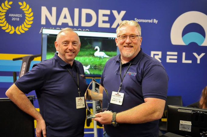 Mike and Shane receiving the Naidex Award for making an immeasurable contribution to healthcare