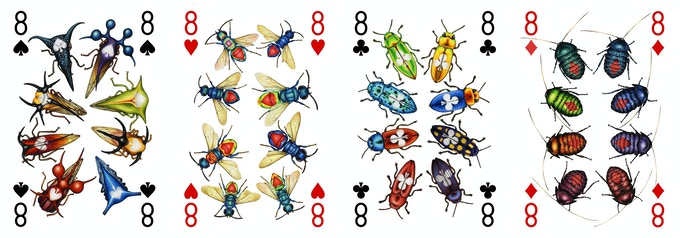 The 8s each show multi-coloured jewel-like insects, including jewel beetles and jewel wasps