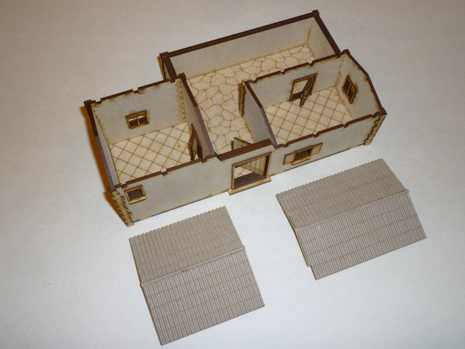 Kit unpainted, assembled, with interior view.